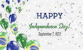 Brazil Independence Day Greeting Card. Flying Balloons In Brazil National Colors. Happy Independence poster