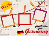 Vector Of German Greeting Card With Map, Rope With Clothespins And Photos, Flag And Speech Bubble Wi poster