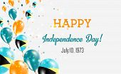 Bahamas Independence Day Greeting Card. Flying Balloons In Bahamas National Colors. Happy Independen poster