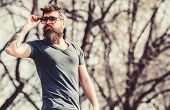 Brutal Male With Perfect Style. Bearded Man Outdoor. Beard Care And Barbershop. Male Fashion And Bea poster