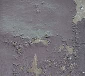 Part Of The Wall Painted With Lilac Paint Flew Around And Concrete Was Visible. The Paint Is Old, Th poster