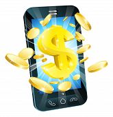 pic of tariff  - Dollar money phone concept illustration of mobile cell phone with gold dollar and coins - JPG