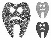 Sad Tooth Composition Of Humpy Pieces In Variable Sizes And Color Tones, Based On Sad Tooth Icon. Ve poster