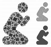 Pray Pose Mosaic Of Rough Pieces In Different Sizes And Color Tinges, Based On Pray Pose Icon. Vecto poster