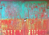 Old Metal Colorful Rusty Grunge Background Doors With Padlock And Keyhole