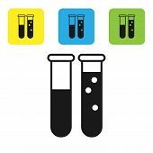Black Test Tube And Flask Chemical Laboratory Test Icon Isolated On White Background. Laboratory Gla poster