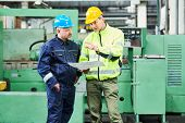 engineer and worker at industrial factory. Metal machining and manufacturing poster