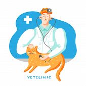 Cat In Veterinary Office Flat Vector Illustration. Doctor Examining Pet With Stethoscope. Cartoon Do poster