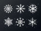 Silver Glitter Snowflakes Collection On Transparent Background. Shining Christmas Design With Sparkl poster