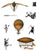 Variety 18th-19th century steampunk characters & flying machines. Sources: LeBallon ad 1883, politic