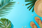 Palm Leaves, Flip Flops, Hat And Starfishes On Blue Background, Copy Space poster
