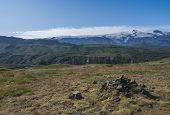 Icelandic Landscape With Green Hills Of Thorsmork And Eyjafjallajokull Volcano Glacier. Laugavegur H poster