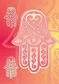 stock photo of fatima  - vector drawing of the hand of fatima with eye in pink shades - JPG