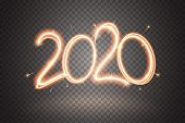2020 Sparkler Sign. Firework Sign With Glow Flare Effect Isolated On Transparent Background. Sparkli poster