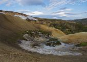 Panorma Of Colorful Rhyolit Landmannalaugar Mountain With Multicolored Volcanos And Sulphur Pool Wit poster