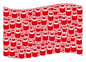 Waving Red Flag Collage. Vector Vial Design Elements Are Arranged Into Mosaic Red Waving Flag Collag poster