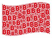 Waving Red Flag Collage. Vector Bitcoin Design Elements Are Arranged Into Conceptual Red Waving Flag poster