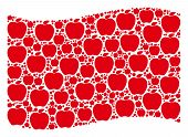 Waving Red Flag Collage. Vector Apple Pictograms Are Combined Into Mosaic Red Waving Flag Collage. P poster