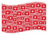 Waving Red Flag Collage. Vector First Aid Kit Items Are Placed Into Mosaic Red Waving Flag Collage.  poster