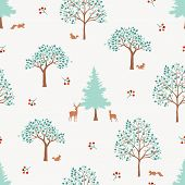 Hand Drawn Cute Forest Seamless Pattern,monotone Green Trees On White Background For Decorative,appa poster