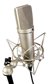 image of recording studio  - isolated chrome classical professional microphone with crab support - JPG