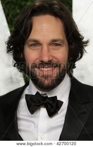 WEST HOLLYWOOD, CA - FEB 24: Paul Rudd at the Vanity Fair Oscar Party at Sunset Tower on February 24, 2013 in West Hollywood, California
