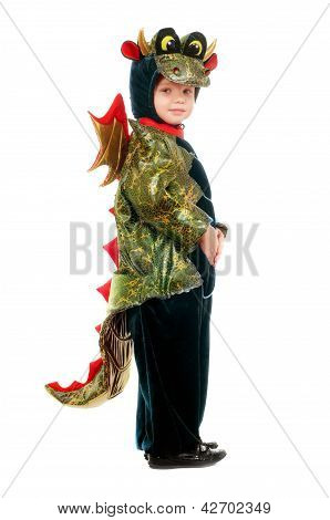 Little Kid In A Dragon Costume