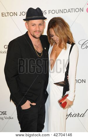 LOS ANGELES - FEB 24:  Joel Madden, Nicole Richie arrives at the Elton John Aids Foundation 21st Academy Awards Viewing Party at the West Hollywood Park on February 24, 2013 in West Hollywood, CA