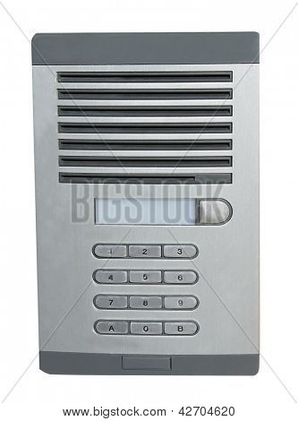 Door intercom for office building, white background.