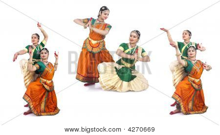 Female Bharathanatyam Dancers Of Indian Origin
