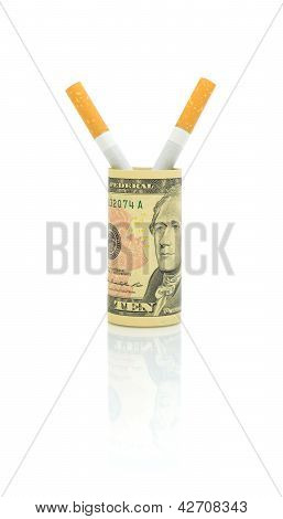 No Smoking. Cigarettes And Money On A White Background.