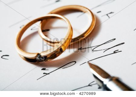 Golden Rings And Pen