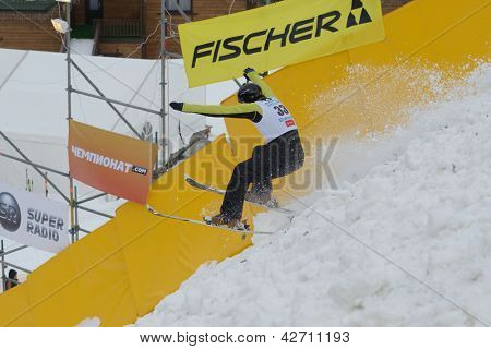 BUKOVEL, UKRAINE - FEBRUARY 23: Sergii Lysianskyi, Ukraine performs aerial skiing during Freestyle Ski World Cup in Bukovel, Ukraine on February 23, 2013