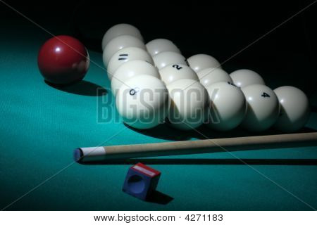 Pool Equipment. Number 8 Ball On A Foreground