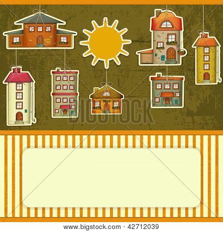 Set Of Houses Retro Card