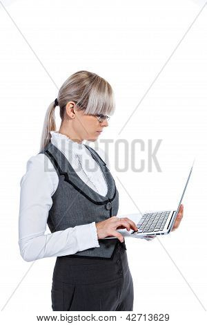 Business Woman With Laptop Computer