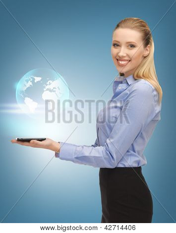 picture of woman with tablet pc and virtual earth