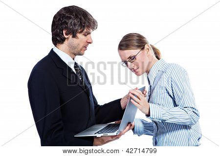 Business couple with computer