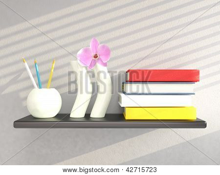 Shelf With Vases And Books On Grey Wall. 3D Render