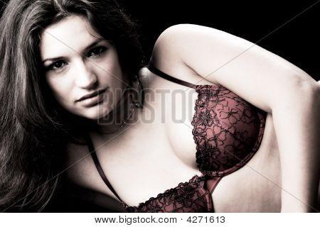 Lingery Dressed Brunette