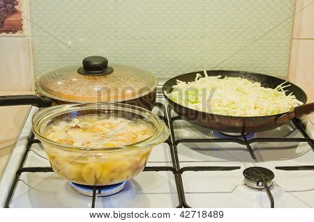 Preparation Of Meal On A Gas Stove