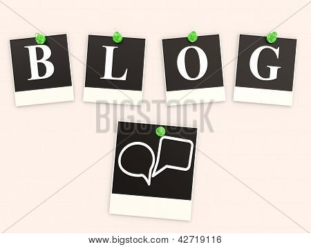 Word Blog From Letters On Photo Frames Pinned To A Background
