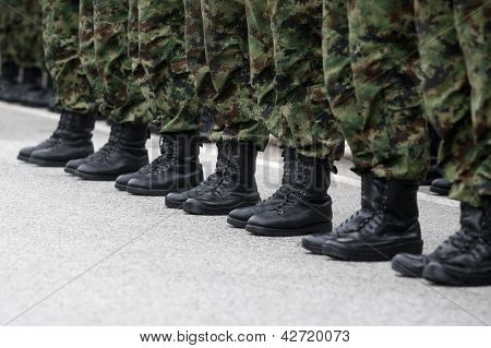 Soldiers line