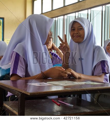 Girls In A Muslim Public School In Thailand