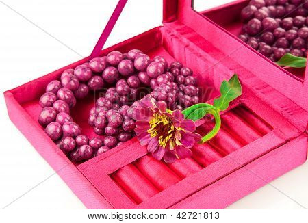 Open Box With Decoration And Flower
