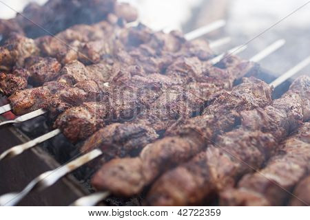 Roasted Spicy Chicken Meat Put On Skewer Outdoors