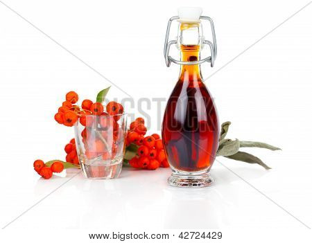 Bottle Of Drink, Mixture With Ashberry