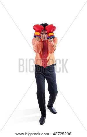 Businessman And Boxing Sport