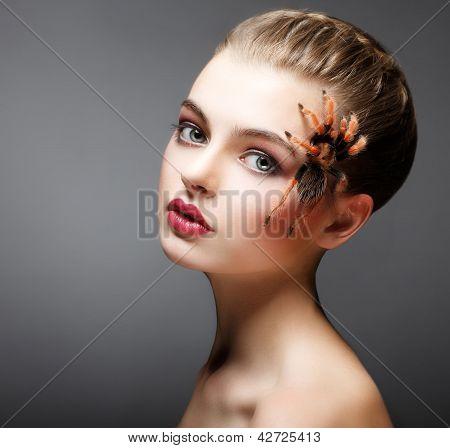 Fantasía. Araña sentado en la cara de una mujer bonita. Creatividad