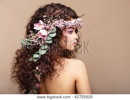 Profile Of Woman With Colorful Wreath Of Flowers. Valentine's Day